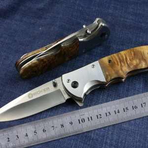 Boker-DA72-Folding-knife-206mm-Handle-Steel-Wood-Tactical-Blade-knife-of-Camping-Boker-DA-72