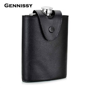 GENNISSY-Removable-Black-Leather-Holster-Buckle-Hip-Flask-8-OZ-Stainless-Steel-Flagons-Men-Portable-Outdoor