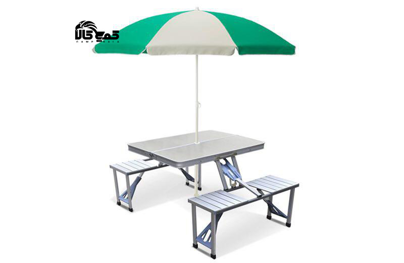 میز و صندلی تاشو چتردار